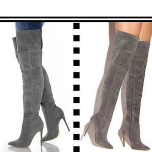 Faux suede thigh over the knee stiletto boot grey